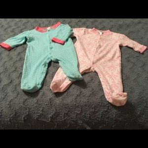 Pair of footie outfits